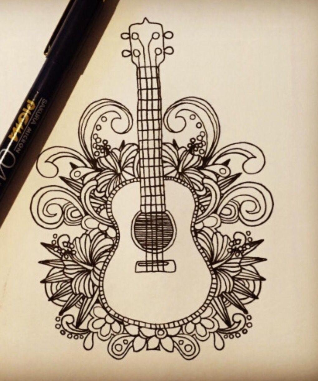 Ukulele tattoo | Tattoo in 2019 | Drawings, Guitar drawing ...