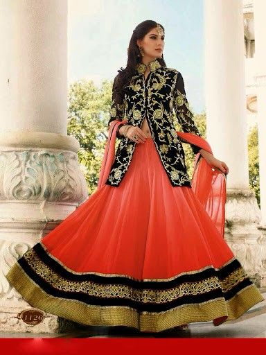 62cdbb81228aab Elegant Orange & Black Lehenga Choli, jacket style long blouse, designer  collection 2015, indian dress for wedding, buy chaniya choli online