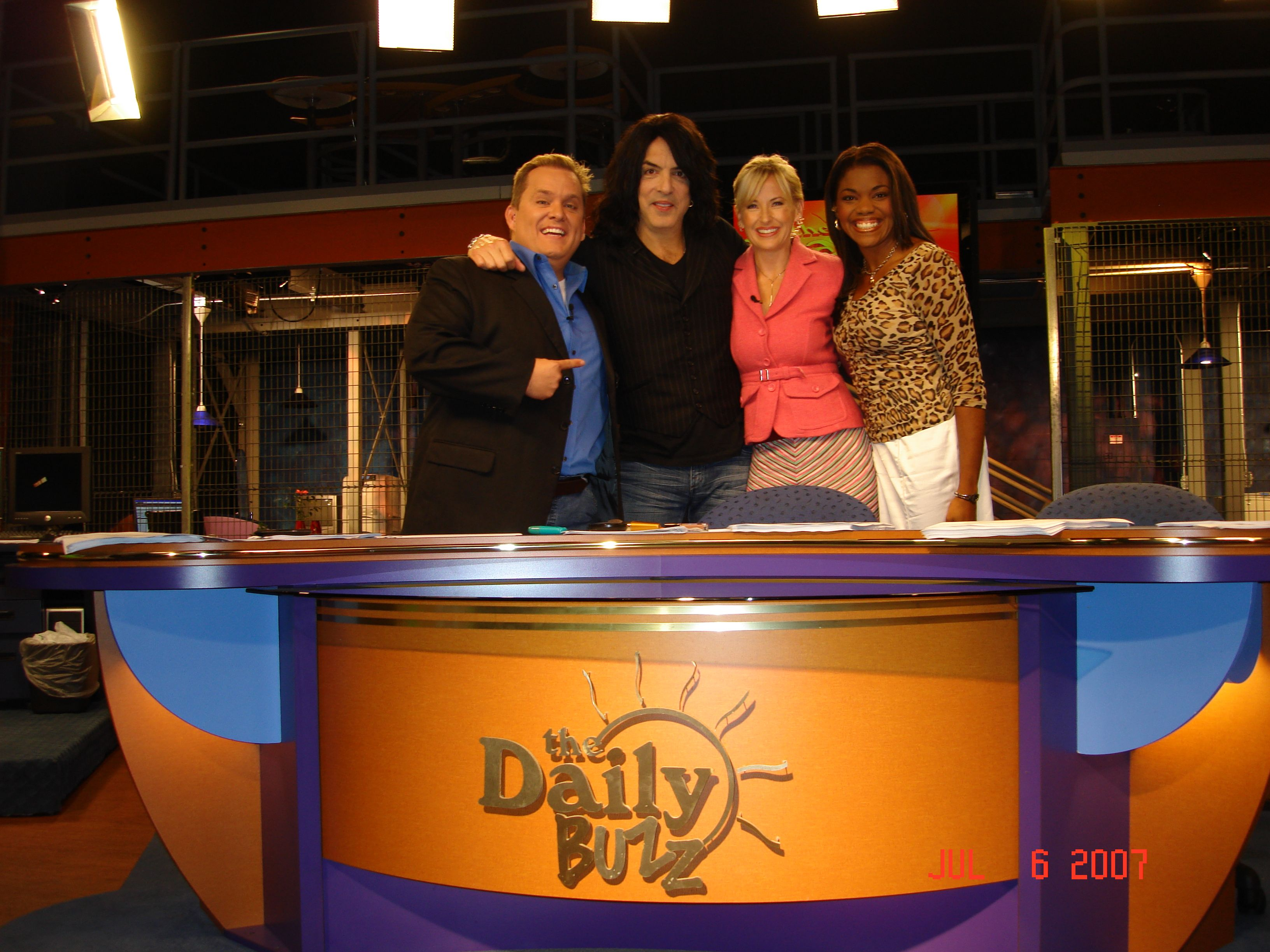 "Paul Stanley and the ""Daily Buzz"" news team filmed in"