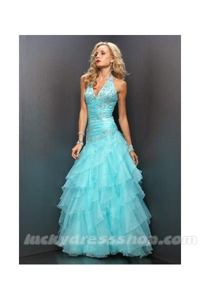 Blue A-Line/Princess Halter Prom Dress With Zipper Up And Sleeveless (MF5139)  $196