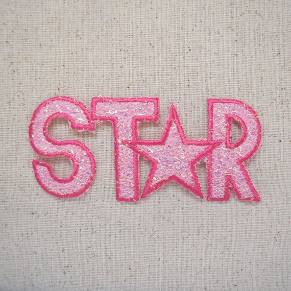 Star with Words Iron on Applique Patch
