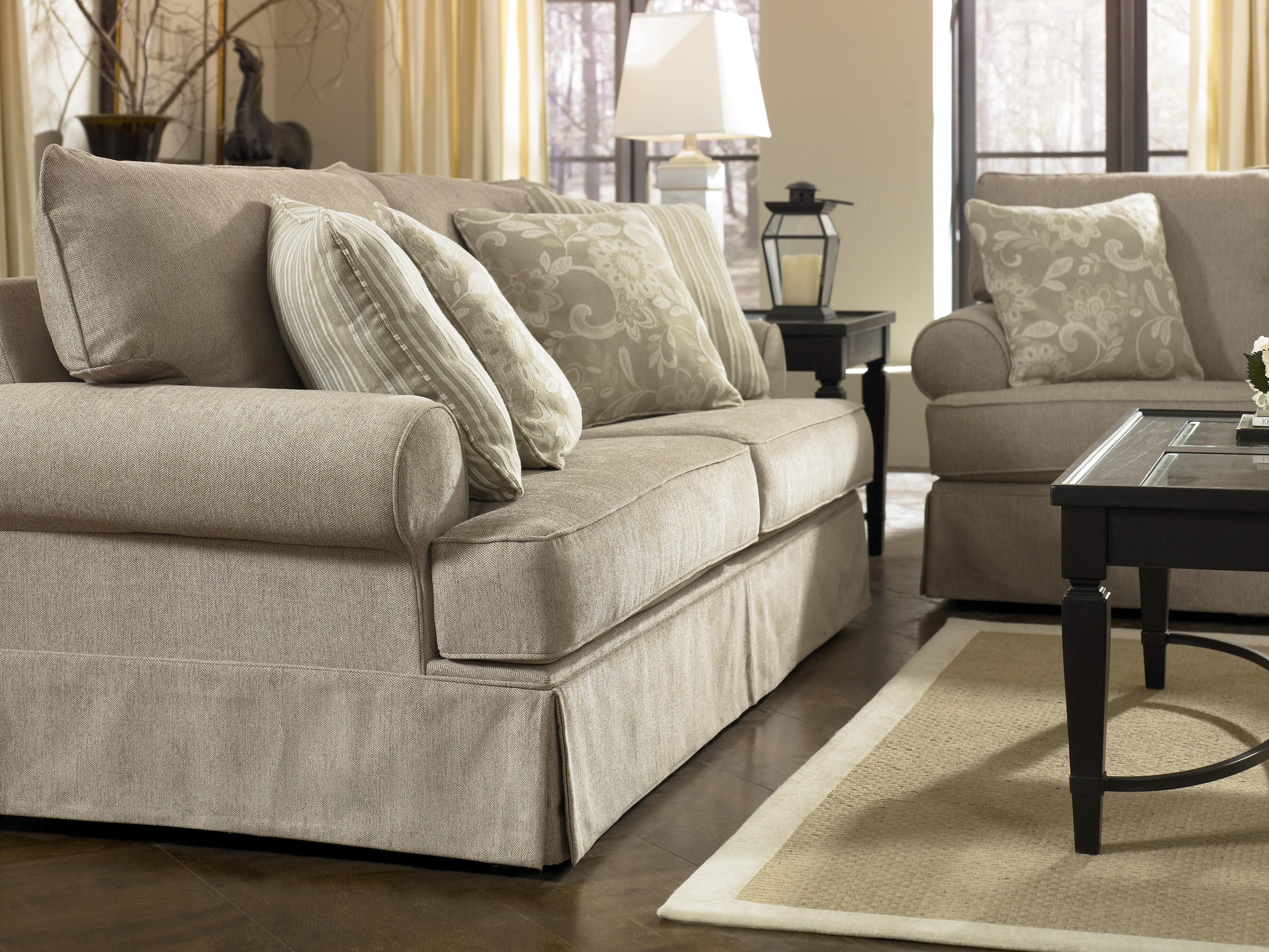 Candlewick Linen Sofa With Rolled Arms And Skirt Base By Signature Design Ashley A1 Furniture Bedding Madison Middleton Janesville Beloit