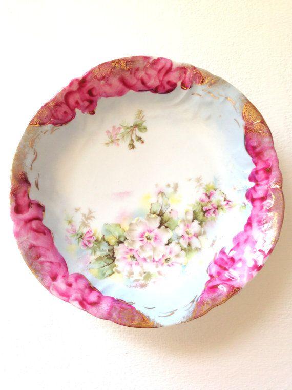 Antique Handpainted Fine Porcelain Floral Bowl by MariasFarmhouse