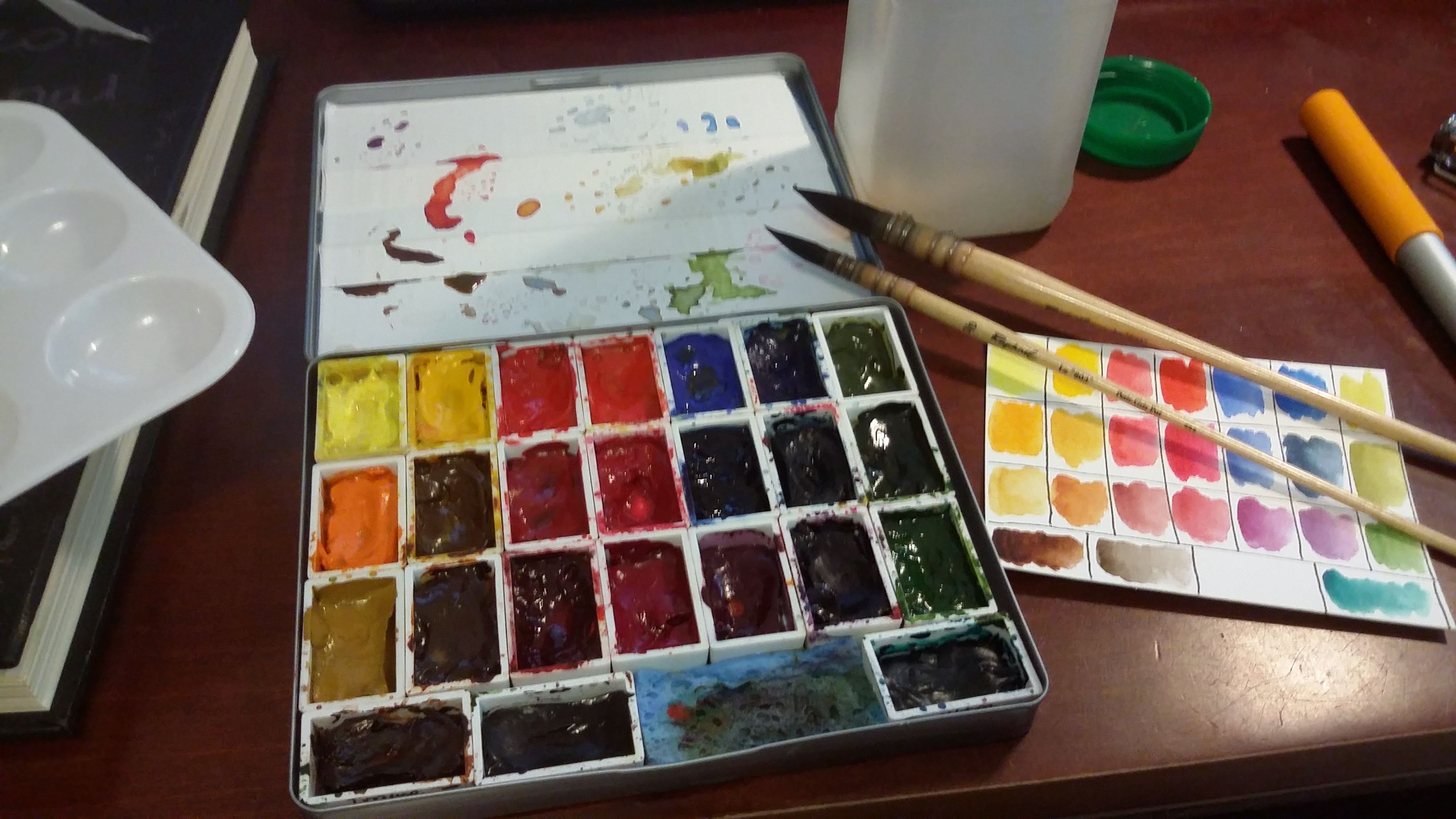 Koi Watercolor Box Filled With Half Pan Refills From Winsor And
