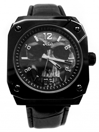"""""""Skull"""" Embossed Leather Watch by Inked (Black)"""