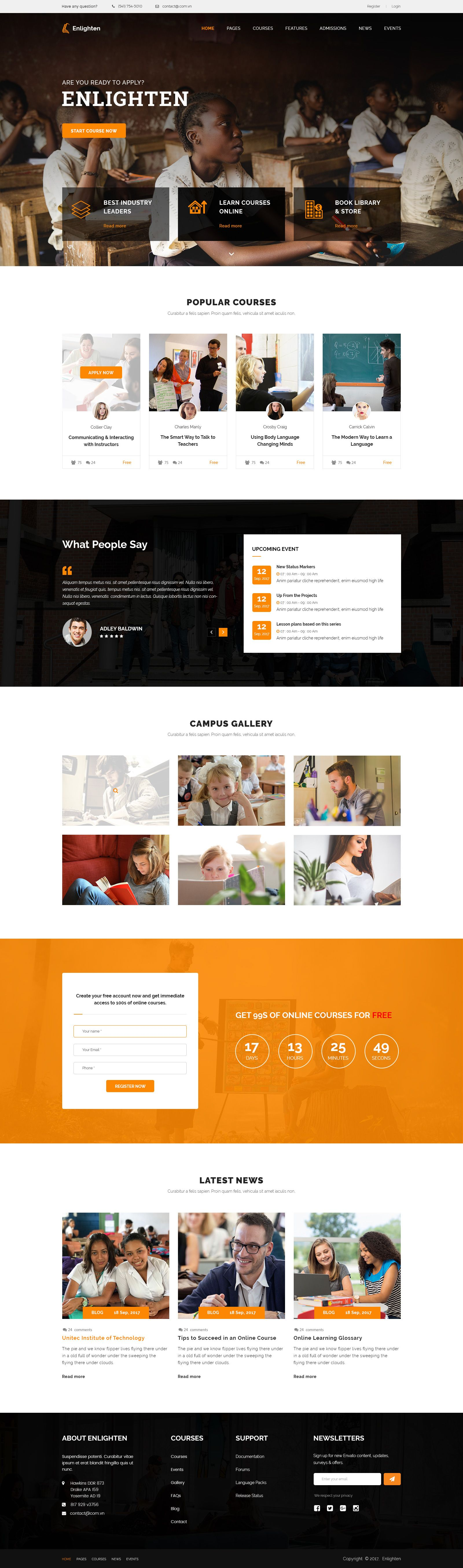 Enlighten - Education PSD Template | Psd templates, Spectrum and ...