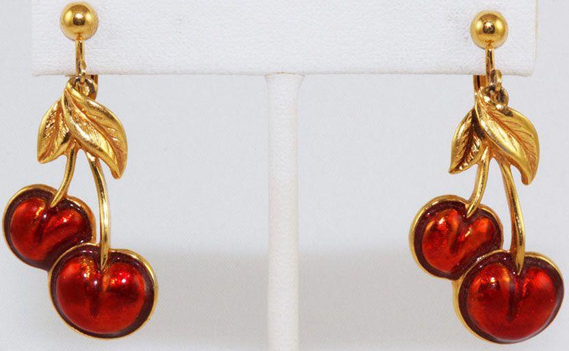 D'oreilles Boucles Avon Vintage 'cerises'Années Bijoux f7Yb6gvy