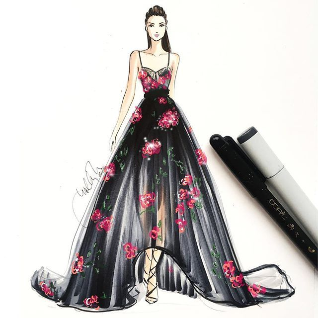 Holly Nichols Illustration Marchesa Spring 2017 Fashion Illustration Dresses Fashion Sketches Dresses Fashion Design Sketches