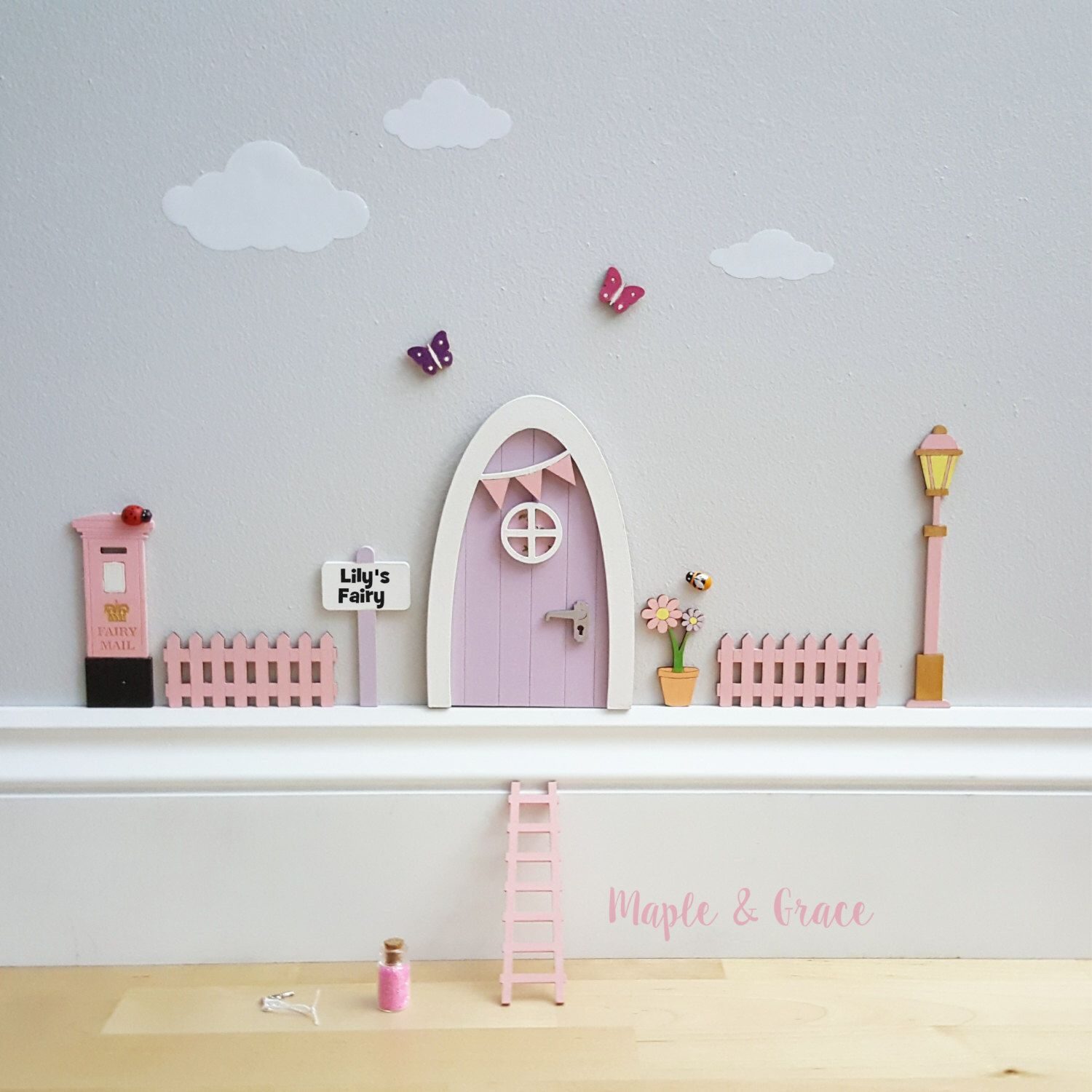 Fairy door lilac with personalised sign and pink accessories kit - tooth fairy - pixie - elf- miniature door