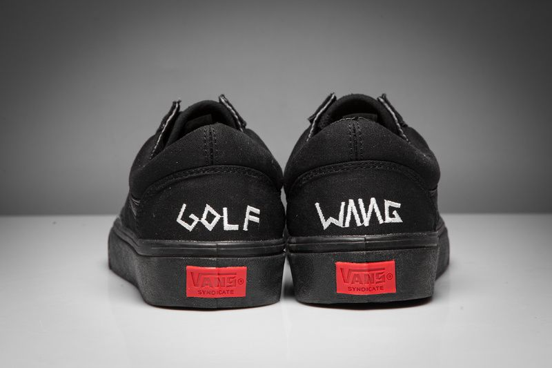 2ab97ec3def vans new joint limited GOLF WANG OLD SKOOL PRO embroidered canvas shoes all  black low to help model vans-103 yards 35-449  Vans