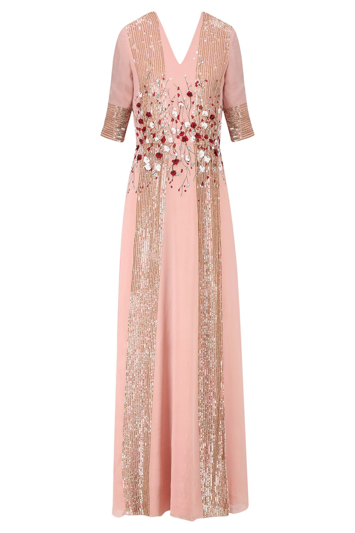 Powder pink and red handcut d floral work long dress available only