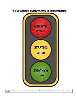 Stoplight Synonyms Antonyms Synonyms And Antonyms Antonyms Synonym Cards