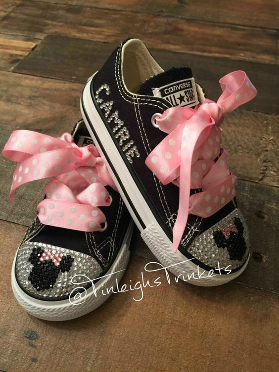 63bb6cc66f2149 Adorn with Minnie Mouse Pink Personalized Toddler Rhinestone Converse Bling  Shoes