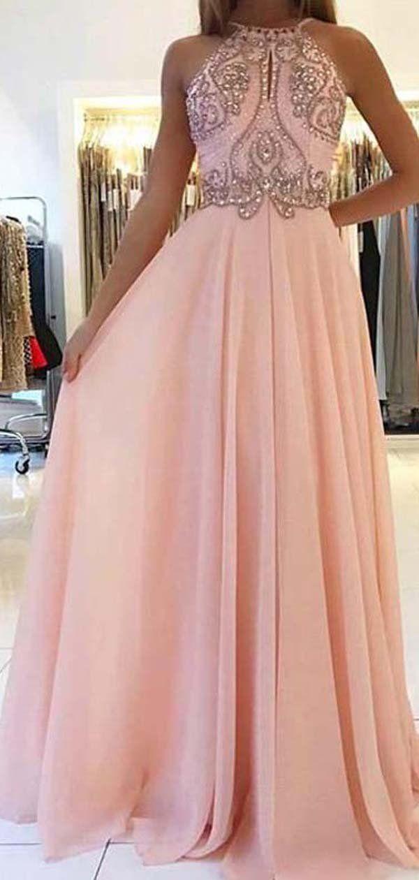 51fb438d988d Blush Pink Halter Beaded Chiffon Long Evening Prom Dresses, Cheap Sweet 16  Dresses, 18349 #prom #promdresses #longpromdresses #cheapromdresses