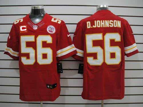 timeless design 7c98f 4bea2 Nike Chiefs #56 Derrick Johnson Red Team Color With C Patch ...