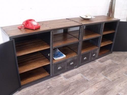 modular mueble living comedor en hierro y madera en