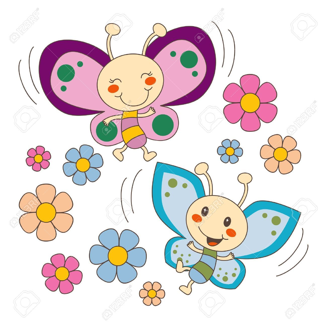 Pink And Blue Baby Butterfy Couple Flying Between Spring Flowers