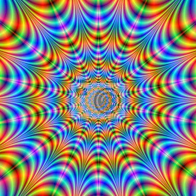 Sticker Orange Et Bleu Psychedelique Anneaux Pixers Nous Vivons Pour Changer Psychedelique Art De L Illusion Et Art Fractal