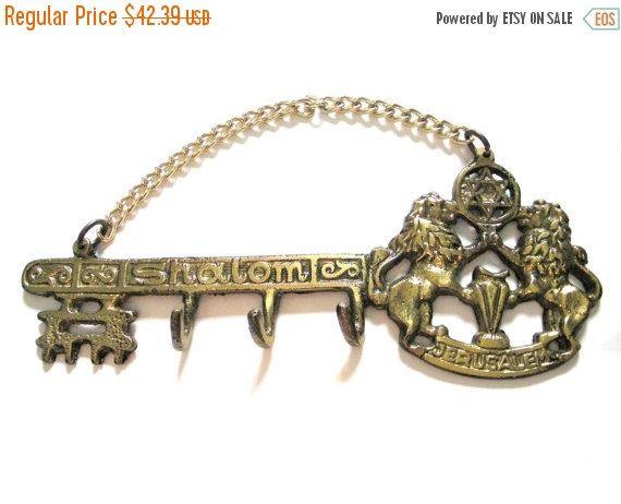SALE Brass key holderkey hooksjerusalem by VintageAnd4All on Etsy