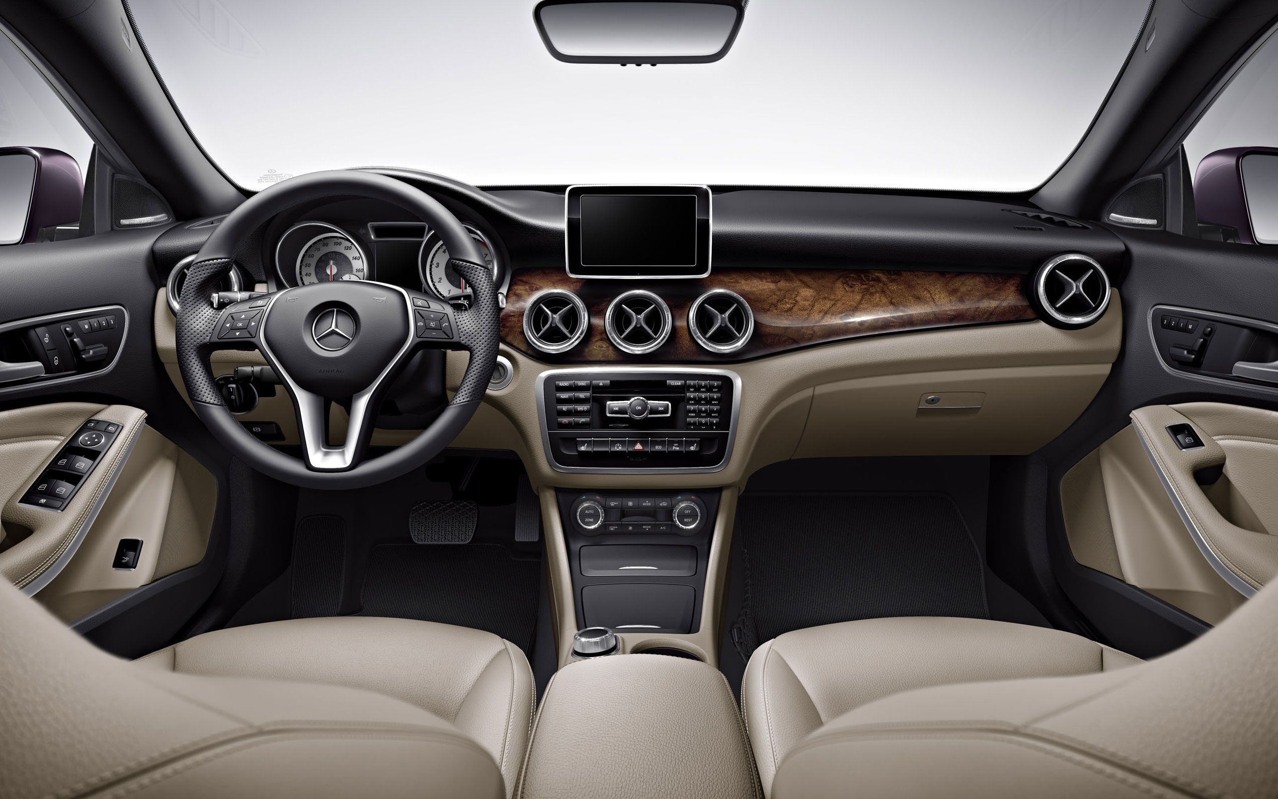 mercedes benz cla250 in beige with available hand polished burl walnut wood trim 2014 mercedes. Black Bedroom Furniture Sets. Home Design Ideas
