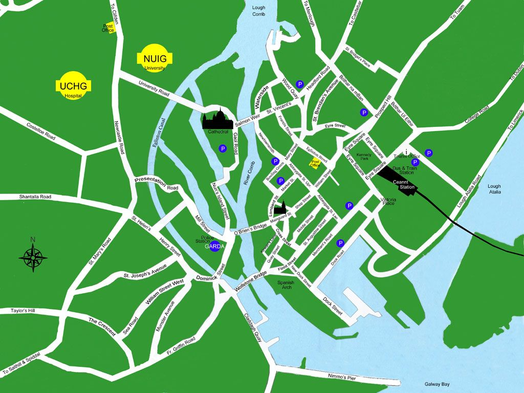 Galway City Map Galway Ireland Mappery With Images Galway