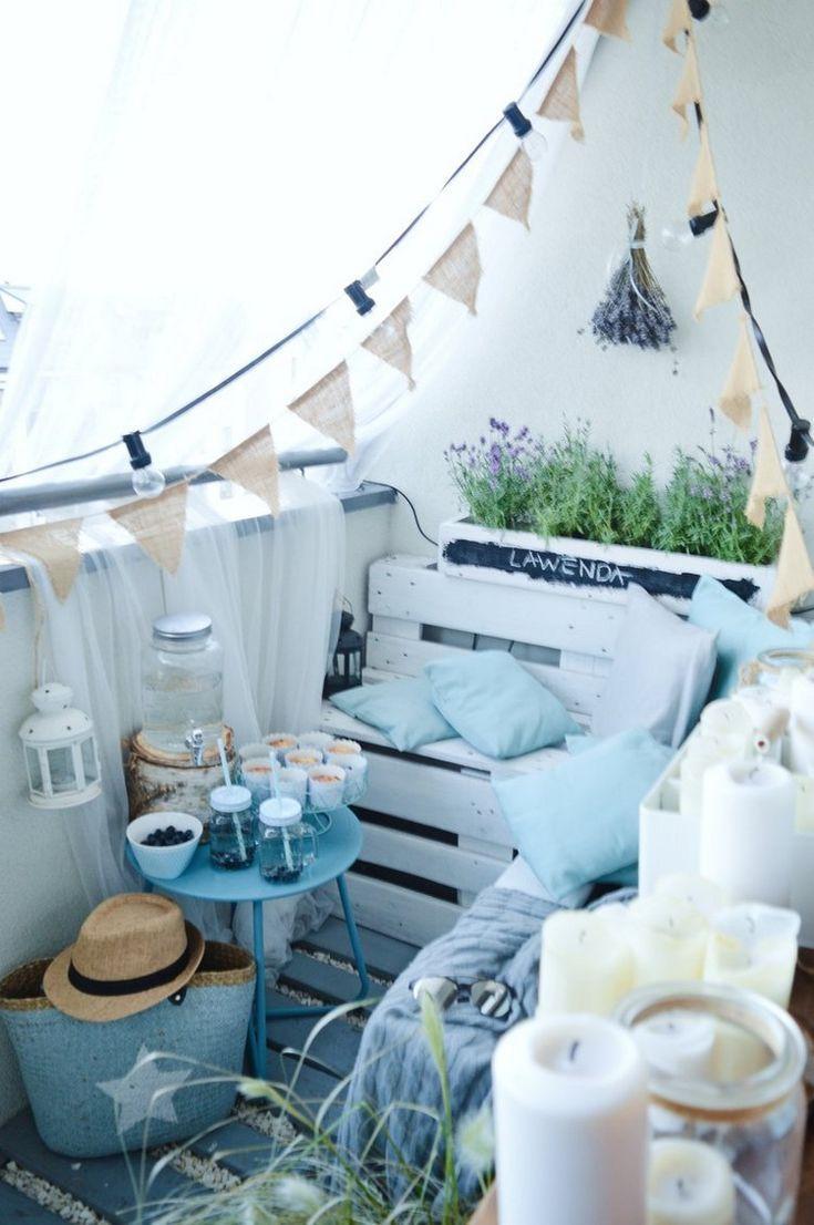 Balkon Gestalten Blau Weiß Mini Balkon Sitz