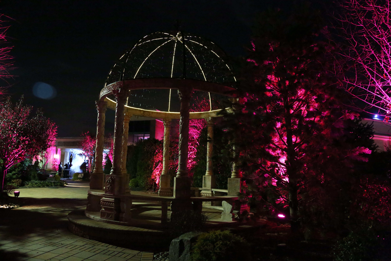 Custom exterior up lighting by the gazebo fuchsia for Exterior uplighting