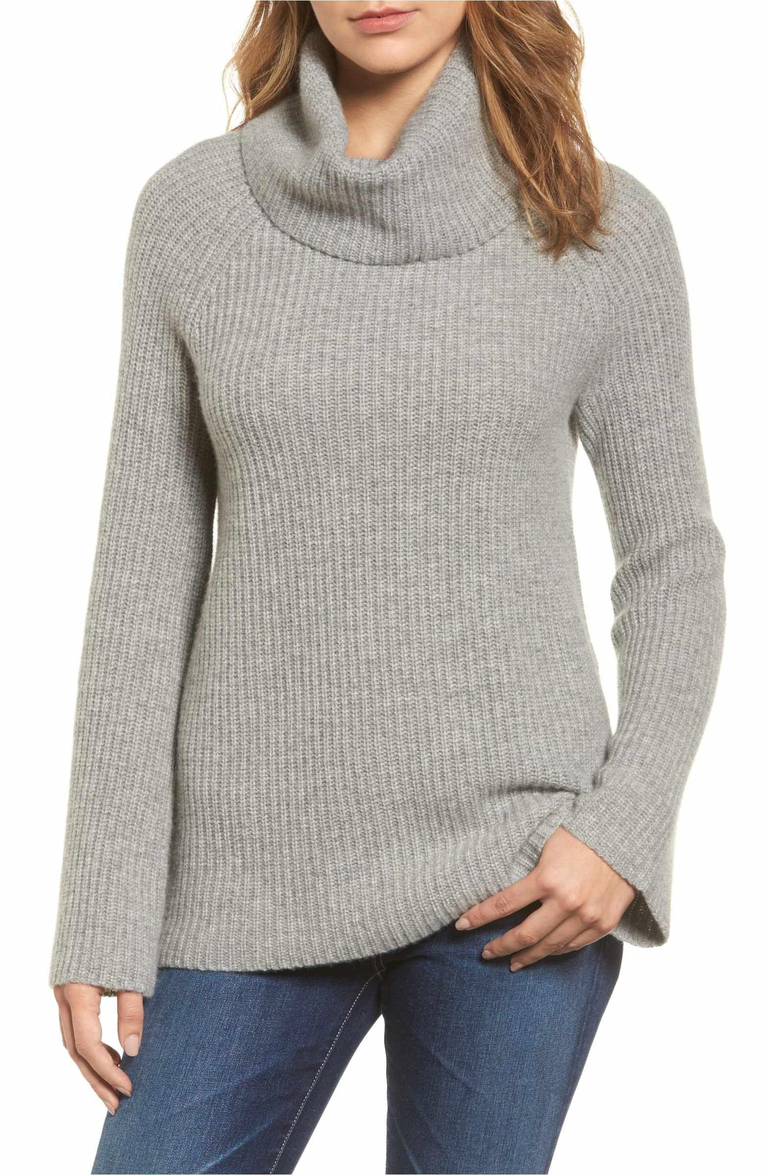 1537d29581 Main Image - Halogen® Ribbed Cashmere Turtleneck Sweater (Regular   Petite)