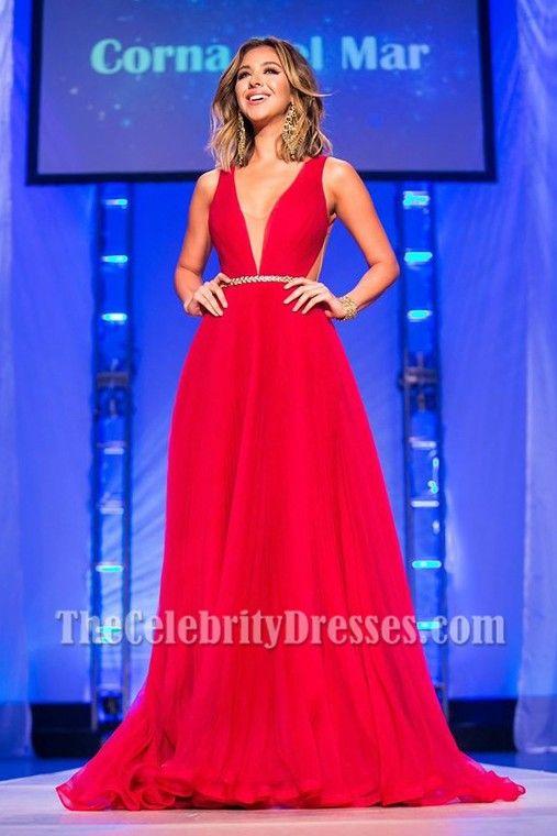 Nadia Mejia Red Backless Evening Dress Miss California USA 2016 ...