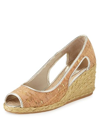 DONALD J PLINER Charlot Open-Toe Espadrille Wedge Pump, Platino. #donaldjpliner #shoes #pumps