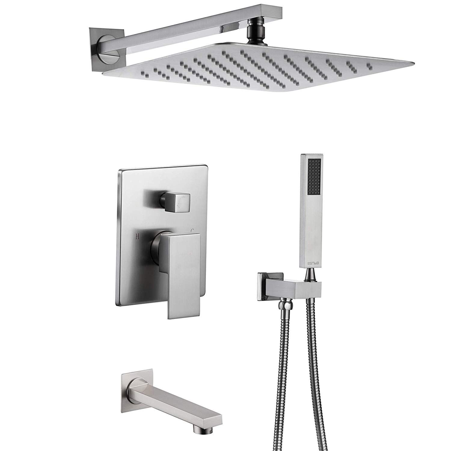 Esnbia Shower System Brushed Nickel Shower Faucet Set With Tub