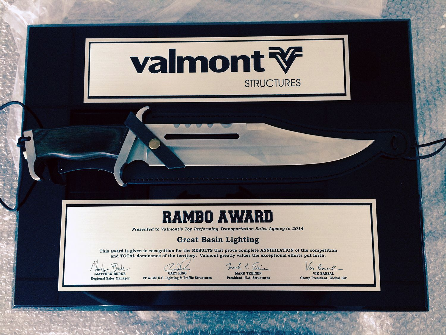 We Are Very Honored To Receive The Rambo Award For Being Valmont S