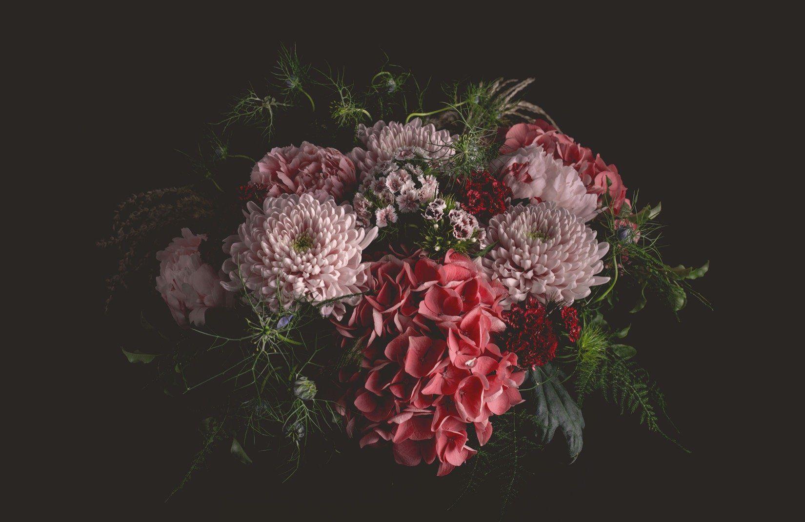 Dark Moody Floral Wallpaper Large Scale Design