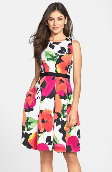 Eliza+J+Floral+Print+Faille+Fit+&+Flare+Dress+available+at+#Nordstrom
