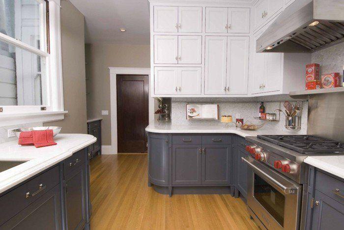 küchendesign rustikal landhausstil weisse küchenfronten dunkelgraue - küche landhaus weiß
