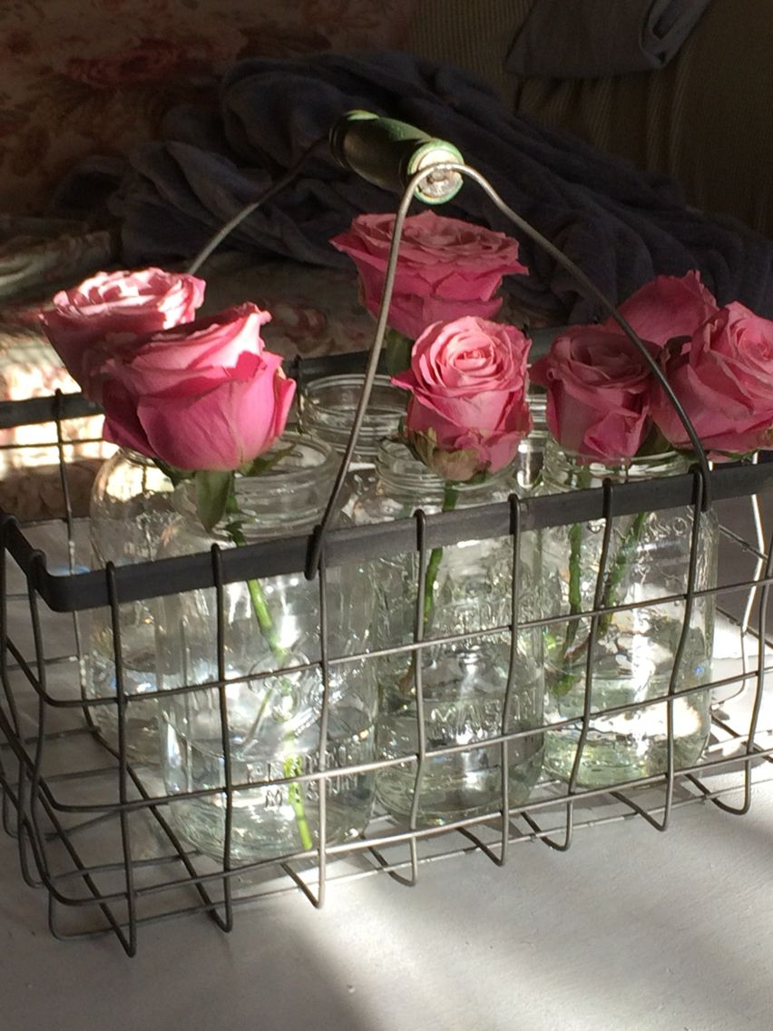 Roses, mason jars, wire baskets and the sunshine. What could be better lol