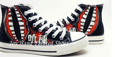 tokyo ghoul Anime Shoes Glow In The Dark painted shoes Hand Pain