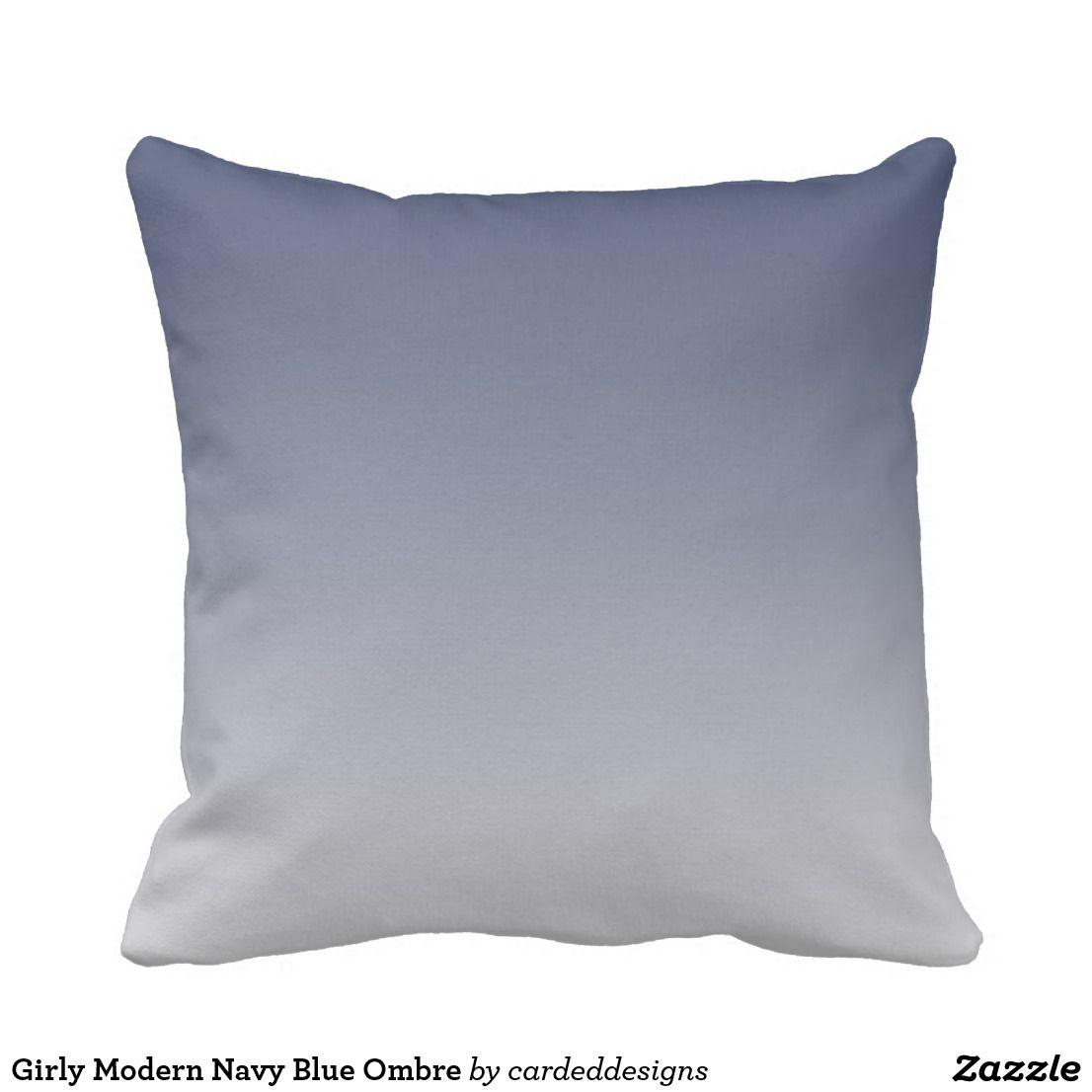 Girly Modern Navy Blue Ombre Throw Pillow
