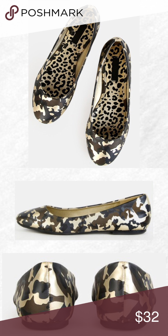 0670adc66b8a5 Gold Metallic Camo Flats Camo has never looked so cool! The Metallic  Camouflage Flats feature a round toe, glammed out camo pattern, and a  classic ballet ...