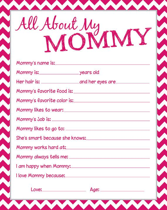 Mommy questionnaire great to have the kids fill by ...