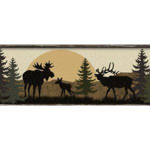 Moose Bear And Elk Silhouettes Wallpaper Border Wallpaper Border