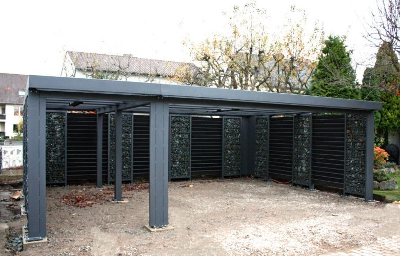 Gabionen Carport Steelmanufaktur Mit Bildern Carport Gabionen Haus Aussen