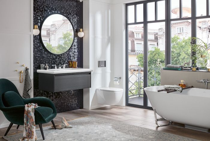 Badkamerinspiratie badkamer in art deco stijl met bad en