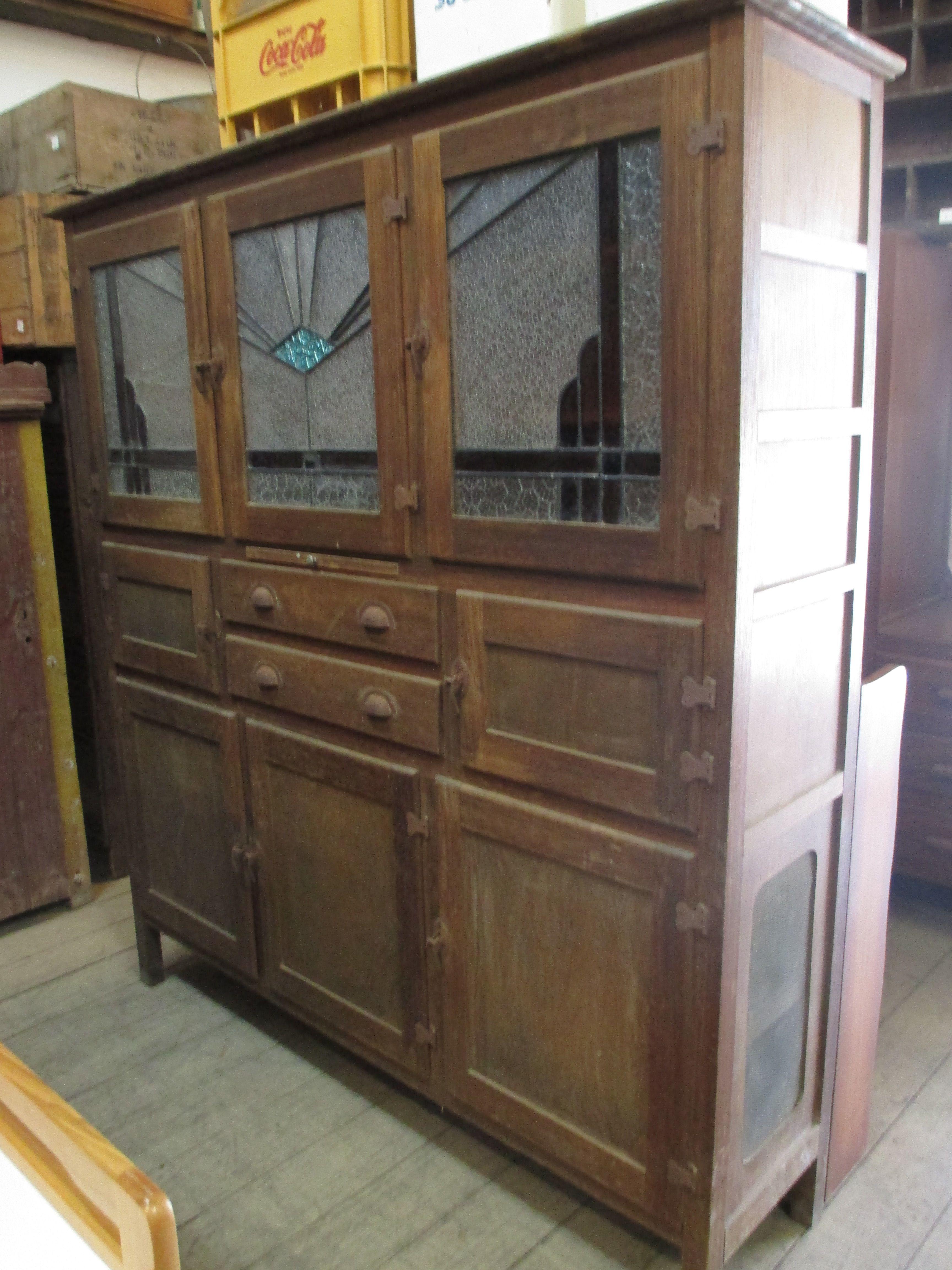 Vintage Kitchen Hutch Glass Subway Tile Antique Leadlight Meat Safe Food Storage Cabinet