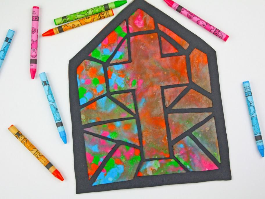 Melted Crayon Stained Glass Cross Melting crayons, Stain