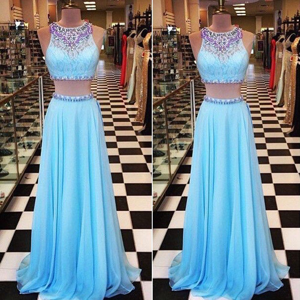 Light Blue Prom Dress,Two Piece Prom Dresses, Chiffon Prom Dress ...