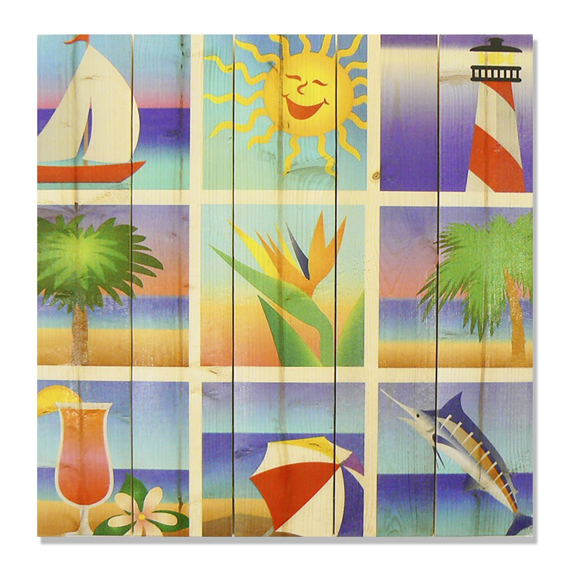 Summer Beach Squares 17x17 Wile E. Wood Indoor/ Outdoor Full Color ...