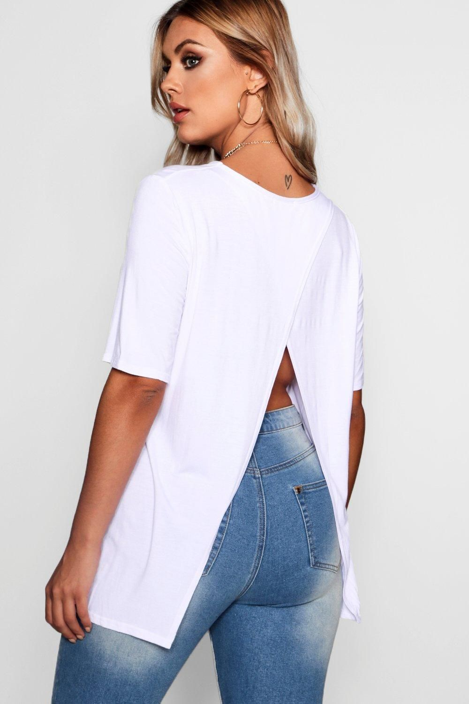 Plus Jersey Split Open Back T Shirt Boohoo Plus Size Summer Tops Plus Size Outfits Women