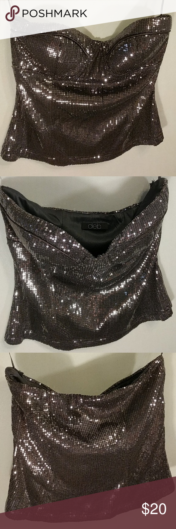 000fa7a4e3 Deb Strapless sequin Bling silver tube top M Deb Strapless sequin Bling silver  tube top. Gently used. Size medium. Deb Tops Crop Tops