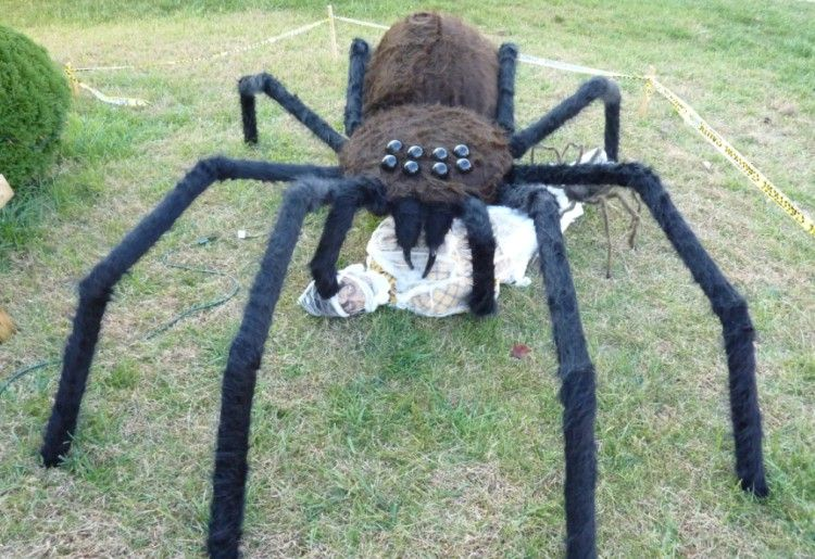 13 Of The Most Elaborate Halloween Home Decorations Ever Halloween Spider Decorations Halloween Spider Homemade Halloween Decorations